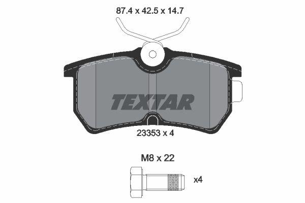 7763D886 TEXTAR nicht für Verschleißwarnanzeiger vorbereitet, mit Bremssattelschrauben Höhe: 42,5mm, Breite: 87,4mm, Dicke/Stärke: 14,7mm Bremsbelagsatz, Scheibenbremse 2335301 günstig kaufen