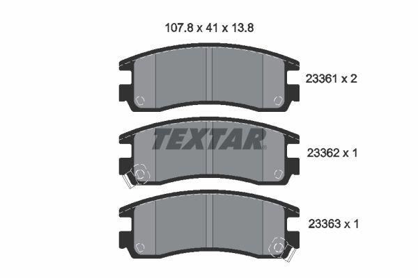 7387D814 TEXTAR mit akustischer Verschleißwarnung Höhe: 41mm, Breite: 107,8mm, Dicke/Stärke: 15mm Bremsbelagsatz, Scheibenbremse 2336101 günstig kaufen