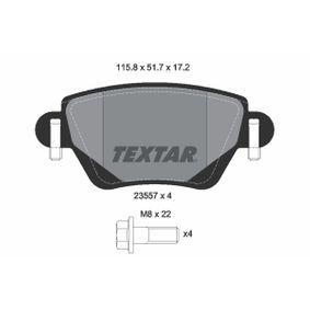 7790D911 TEXTAR nicht für Verschleißwarnanzeiger vorbereitet, mit Bremssattelschrauben Höhe: 51,7mm, Breite: 115,8mm, Dicke/Stärke: 17,2mm Bremsbelagsatz, Scheibenbremse 2355701 günstig kaufen