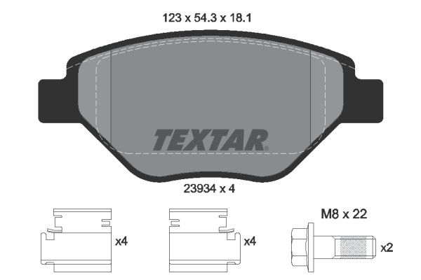 TEXTAR Bremsbelagsatz, Scheibenbremse 2393401