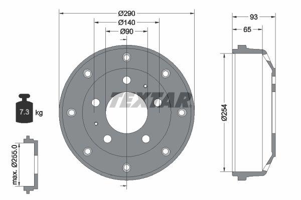 Compre TEXTAR Tambor de travão 94011600 caminhonete