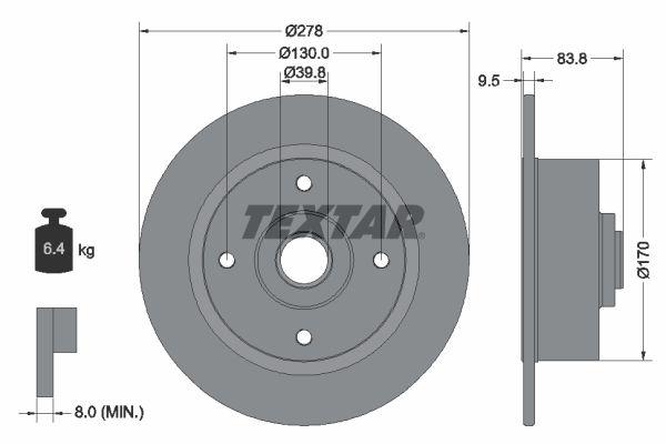 Achetez Disques de frein TEXTAR 92010300 (Ø: 278mm, Épaisseur du disque de frein: 9,5mm) à un rapport qualité-prix exceptionnel