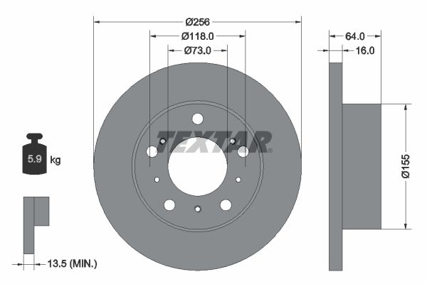 TEXTAR: Original Bremsscheiben 92034400 (Ø: 256mm, Bremsscheibendicke: 16mm)