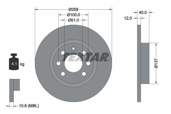 VOLVO 440 K 1991 Bremsscheiben - Original TEXTAR 92050600 Ø: 259mm, Bremsscheibendicke: 12mm
