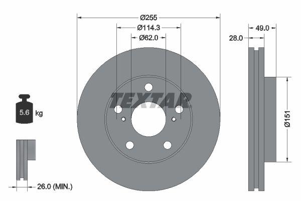 Freni a disco 92077600 con un ottimo rapporto TEXTAR qualità/prezzo