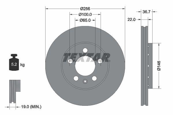 Achetez Tuning TEXTAR 92082200 (Ø: 256mm, Épaisseur du disque de frein: 22mm) à un rapport qualité-prix exceptionnel