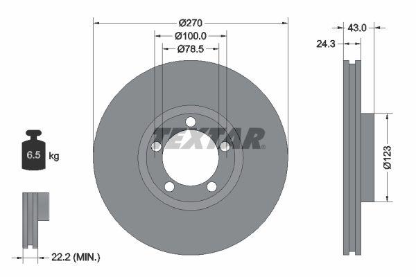 Купете 98200088201 TEXTAR вътрешновентилиран, без болтове за закрепване на колелата, без колесна главина Ø: 270мм, дебелина на спирачния диск: 24,3мм Спирачен диск 92088200 евтино