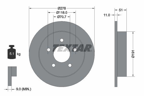 CHEVROLET CAPRICE 1998 Bremsscheiben - Original TEXTAR 92099800 Ø: 278mm, Bremsscheibendicke: 11mm