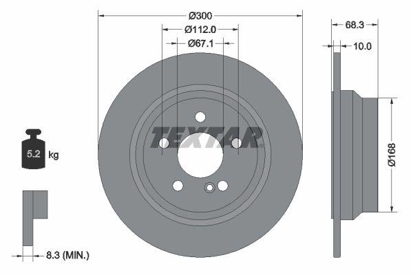 98200115401 TEXTAR Voll, ohne Radbefestigungsbolzen, ohne Radnabe Ø: 300mm, Bremsscheibendicke: 10mm Bremsscheibe 92115400 günstig kaufen