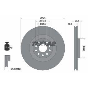 98200120601 TEXTAR Innenbelüftet, ohne Radnabe, ohne Radbefestigungsbolzen Ø: 345mm, Bremsscheibendicke: 30mm Bremsscheibe 92120600 günstig kaufen