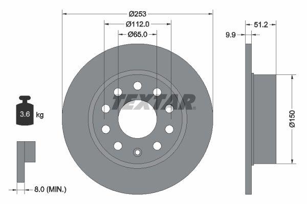 98200120901 TEXTAR Voll, ohne Radbefestigungsbolzen, ohne Radnabe Ø: 253mm, Bremsscheibendicke: 9,9mm Bremsscheibe 92120900 günstig kaufen