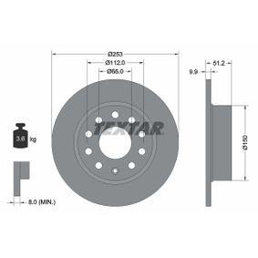 98200120901 TEXTAR Voll, ohne Radnabe, ohne Radbefestigungsbolzen Ø: 253mm, Bremsscheibendicke: 9,9mm Bremsscheibe 92120900 günstig kaufen