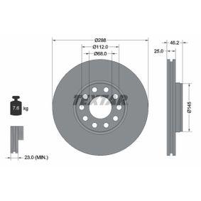 98200121001 TEXTAR außenbelüftet, ohne Radnabe, ohne Radbefestigungsbolzen Ø: 288mm, Bremsscheibendicke: 25mm Bremsscheibe 92121000 günstig kaufen