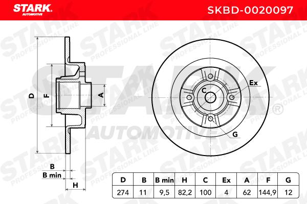 SKBD0020097 Discos de Travão STARK SKBD-0020097 Enorme selecção - fortemente reduzidos