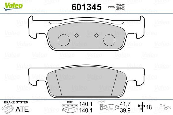 Achetez Jeu de plaquettes de frein VALEO 601345 (Hauteur 2: 42mm, Hauteur: 40,1mm, Largeur 2: 140,1mm, Largeur: 140,1mm, Epaisseur 2: 18mm, Épaisseur: 17,4mm) à un rapport qualité-prix exceptionnel