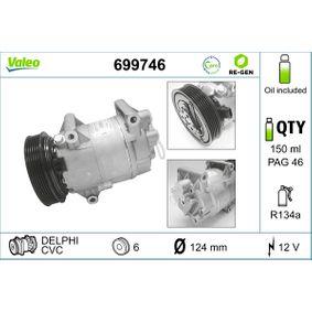 699746 VALEO PAG 125, Kältemittel: R 134a, ohne PAG-Kompressoröl, AUSTAUSCHTEIL Riemenscheiben-Ø: 124mm Kompressor, Klimaanlage 699746 günstig kaufen