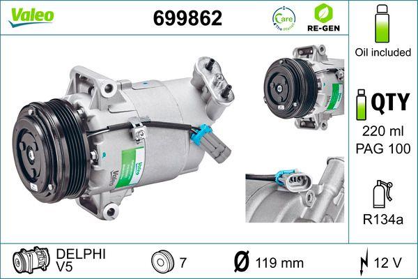 Kompressor Klimaanlage OPEL Zafira B Van (A05) 2009 - VALEO 699862 (Riemenscheiben-Ø: 105mm, Anzahl der Rillen: 5)