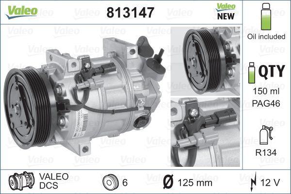 813147 VALEO PAG 46, Kältemittel: R 134a, mit PAG-Kompressoröl, NEW ORIGINAL PART Riemenscheiben-Ø: 125mm, Anzahl der Rillen: 6 Klimakompressor 813147 günstig kaufen