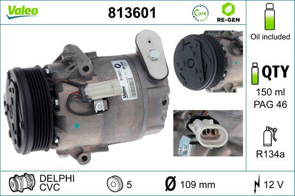 813601 VALEO Kältemittel: R 134a, ohne PAG-Kompressoröl, AUSTAUSCHTEIL Riemenscheiben-Ø: 105mm Kompressor, Klimaanlage 813601 günstig kaufen