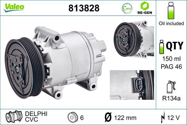 813828 VALEO PAG 125, Kältemittel: R 134a, ohne PAG-Kompressoröl, AUSTAUSCHTEIL Riemenscheiben-Ø: 122mm, Anzahl der Rillen: 6 Klimakompressor 813828 günstig kaufen