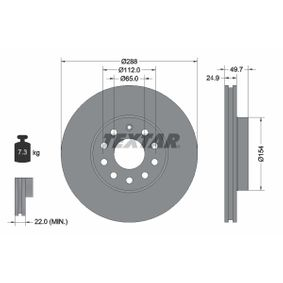 98200120801 TEXTAR Internally Vented, without wheel hub, without wheel studs Ø: 288mm, Brake Disc Thickness: 24,9mm Brake Disc 92120800 cheap
