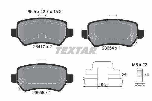 2341703 Bremssteine TEXTAR in Original Qualität