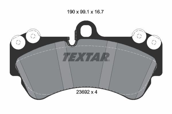 7911D1007 TEXTAR preparado para indicador desgaste, con pesos de equilibrio Altura: 99,1mm, Ancho: 190mm, Espesor: 16,7mm Juego de pastillas de freno 2369202 a buen precio