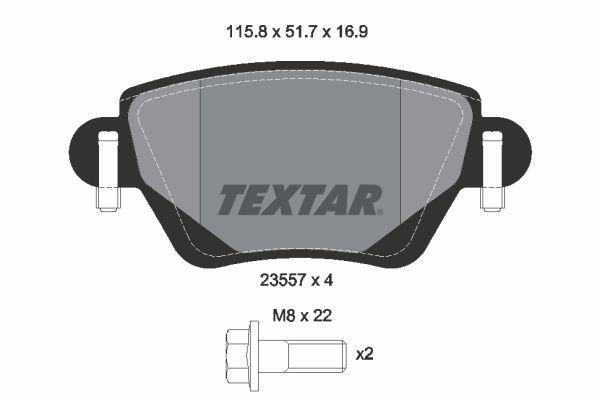 2355716914 TEXTAR nicht für Verschleißwarnanzeiger vorbereitet, mit Bremssattelschrauben Höhe: 51,7mm, Breite: 115,8mm, Dicke/Stärke: 16,9mm Bremsbelagsatz, Scheibenbremse 2355702 günstig kaufen