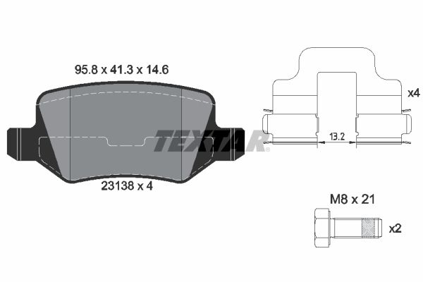 MERCEDES-BENZ A-Klasse 2020 Bremsbelagsatz - Original TEXTAR 2313805 Höhe: 41,3mm, Breite: 95,8mm, Dicke/Stärke: 14,6mm