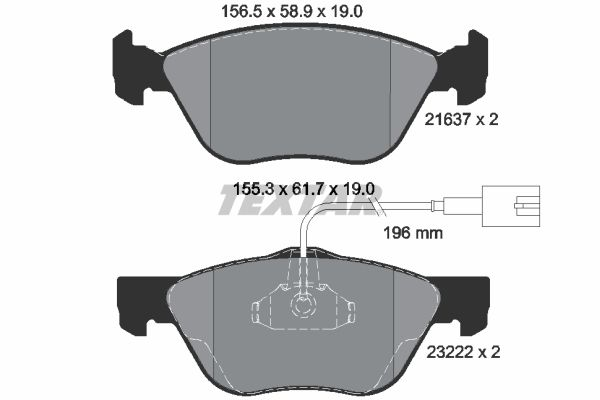 8675D1476 TEXTAR mit integriertem Verschleißsensor Höhe 1: 61,7mm, Höhe 2: 58,9mm, Breite 1: 155,3mm, Breite 2: 156,5mm, Dicke/Stärke: 19mm Bremsbelagsatz, Scheibenbremse 2163702 günstig kaufen