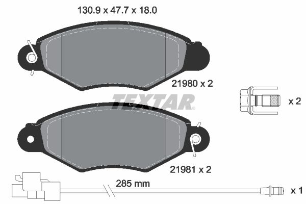 21981 TEXTAR mit integriertem Verschleißsensor, mit Bremssattelschrauben Höhe: 47,7mm, Breite: 130,9mm, Dicke/Stärke: 18mm Bremsbelagsatz, Scheibenbremse 2198009 günstig kaufen