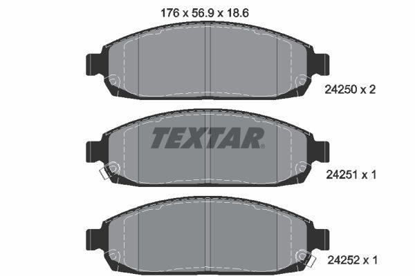 8297D1181 TEXTAR mit akustischer Verschleißwarnung Höhe: 56,9mm, Breite: 176mm, Dicke/Stärke: 18,6mm Bremsbelagsatz, Scheibenbremse 2425001 günstig kaufen