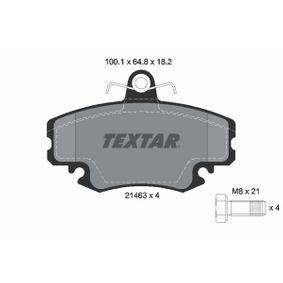 2146318214 TEXTAR exkl. Verschleißwarnkontakt, mit Bremssattelschrauben Höhe: 64,8mm, Breite: 100,1mm, Dicke/Stärke: 18,2mm Bremsbelagsatz, Scheibenbremse 2146306 günstig kaufen