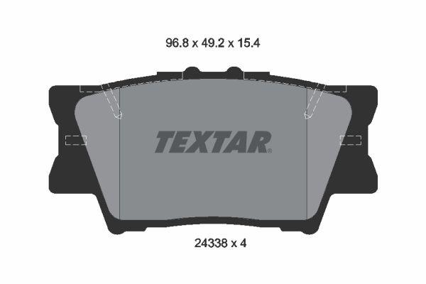 LEXUS HS 2014 Bremsbelagsatz Scheibenbremse - Original TEXTAR 2433801 Höhe: 49,1mm, Breite: 96,5mm, Dicke/Stärke: 15,4mm