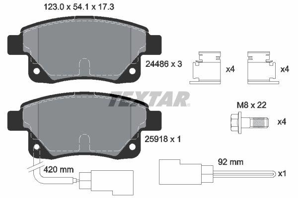 FORD TRANSIT 2016 Bremsbeläge - Original TEXTAR 2448601 Höhe: 54,1mm, Breite: 123mm, Dicke/Stärke: 17,3mm