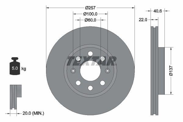 Reservdelar GERMAN E-CARS PLANTOS 2012: Bromsskiva TEXTAR 92145700 till rabatterat pris — köp nu!