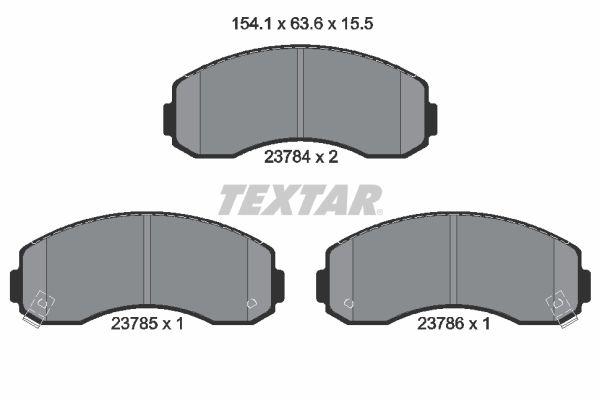 KIA K2500 2015 Bremsklötze - Original TEXTAR 2378401 Höhe: 63,6mm, Breite: 154,1mm, Dicke/Stärke: 15,5mm