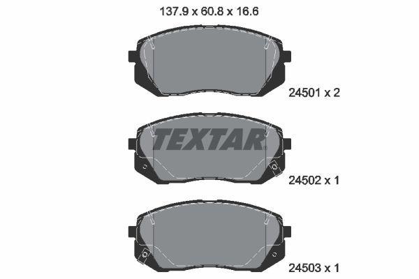 8412D1295 TEXTAR mit akustischer Verschleißwarnung Höhe: 60,8mm, Breite: 137,9mm, Dicke/Stärke: 16,6mm Bremsbelagsatz, Scheibenbremse 2450101 günstig kaufen