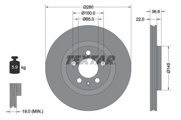 Bremsscheiben Golf 4 hinten und vorne 2003 - TEXTAR 92082305 (Ø: 280mm, Bremsscheibendicke: 22mm)