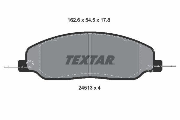 FORD USA MUSTANG 2018 Bremssteine - Original TEXTAR 2451301 Höhe: 54,5mm, Breite: 162,6mm, Dicke/Stärke: 17,8mm