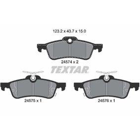 24576 TEXTAR mit akustischer Verschleißwarnung Höhe: 43,7mm, Breite: 123,2mm, Dicke/Stärke: 15mm Bremsbelagsatz, Scheibenbremse 2457401 günstig kaufen