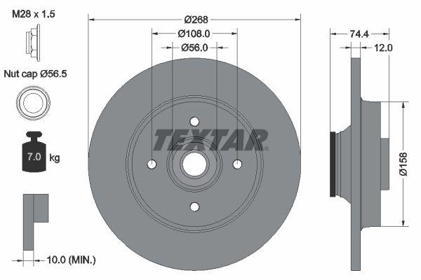98200168701 TEXTAR Voll, mit integriertem magnetischen Sensorring, mit Radlager Ø: 268mm, Bremsscheibendicke: 12mm Bremsscheibe 92168700 günstig kaufen
