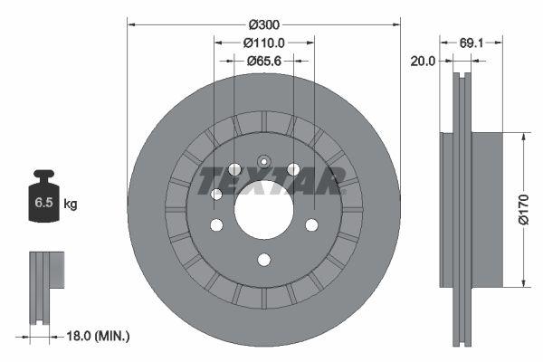 98200164901 TEXTAR außenbelüftet, ohne Radbefestigungsbolzen, ohne Radnabe Ø: 300mm, Bremsscheibendicke: 20mm Bremsscheibe 92164900 günstig kaufen