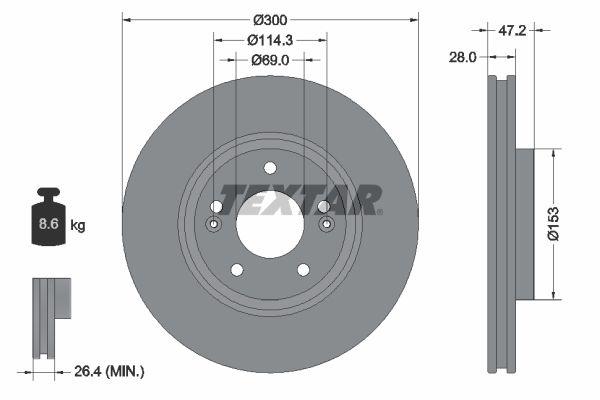 TEXTAR: Original Scheibenbremsen 92166500 (Ø: 300mm, Bremsscheibendicke: 28mm)