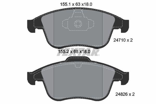 8984D1765 TEXTAR nicht für Verschleißwarnanzeiger vorbereitet Höhe 1: 63mm, Höhe 2: 68mm, Breite: 155,3mm, Dicke/Stärke: 18mm Bremsbelagsatz, Scheibenbremse 2471001 günstig kaufen