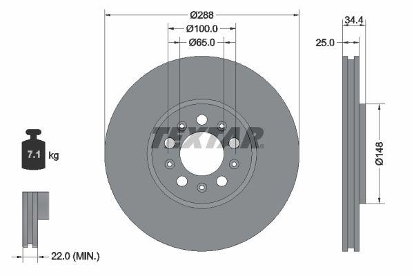 Scheibenbremsen Polo 9n hinten und vorne 2005 - TEXTAR 92106603 (Ø: 287mm, Bremsscheibendicke: 25mm)