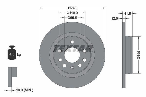 98200118501PRO TEXTAR PRO Voll, beschichtet, ohne Radbefestigungsbolzen, ohne Radnabe Ø: 278mm, Bremsscheibendicke: 12mm Bremsscheibe 92118503 günstig kaufen