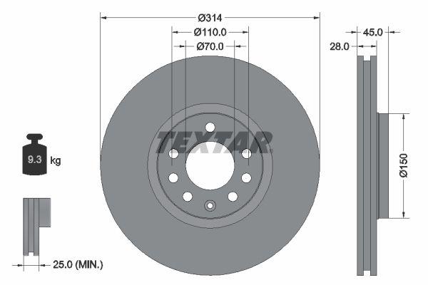 98200118801PRO TEXTAR PRO außenbelüftet, beschichtet, ohne Radbefestigungsbolzen, ohne Radnabe Ø: 314mm, Bremsscheibendicke: 28mm Bremsscheibe 92118803 günstig kaufen