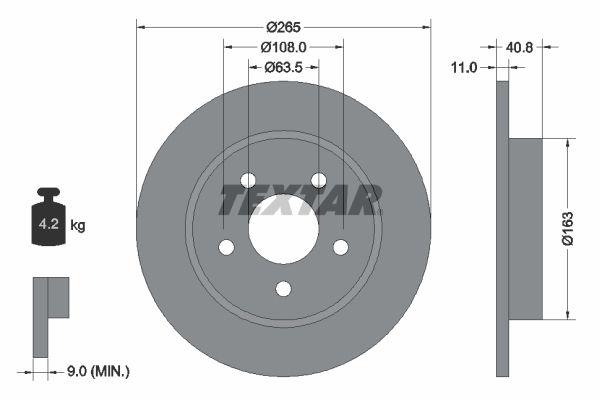 TEXTAR: Original Scheibenbremsen 92133703 (Ø: 265mm, Bremsscheibendicke: 11mm)