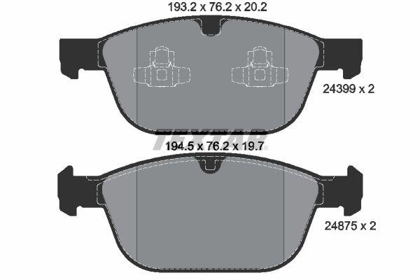 TEXTAR: Original Bremsbelagsatz 2439901 (Höhe: 76,2mm, Breite 2: 194,3mm, Breite: 193,1mm, Dicke/Stärke 2: 19,7mm, Dicke/Stärke: 20,2mm)